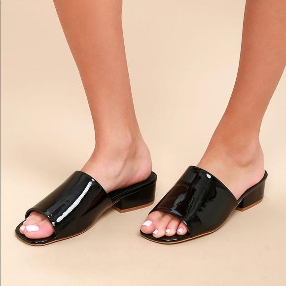 dc82498986 Free People Shoes | Chic Black Patent Low Heel Mules | Poshmark